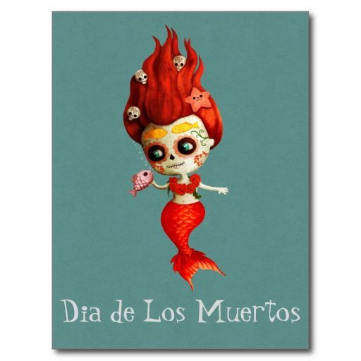The Day of The Dead Mermaid Postcard