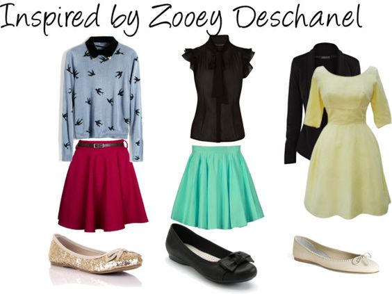 """""""Inspired by Zoeey Deschanel"""" by rie-rie-1 on Polyvore. Love Zooey's style."""