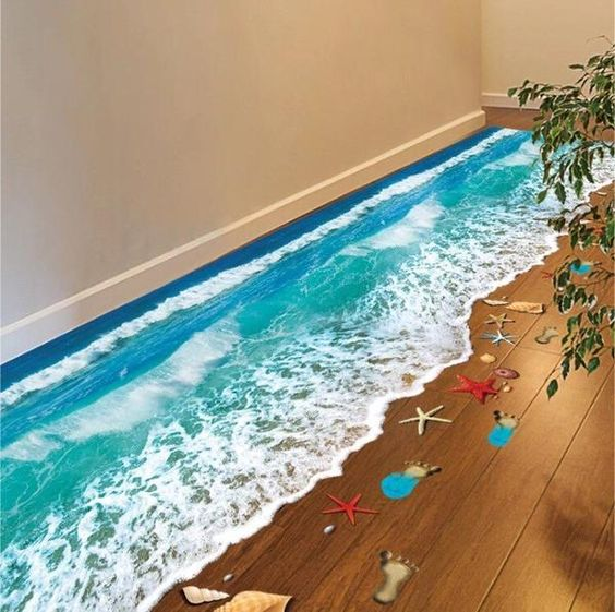 3D Removable Beach & Waves Art Stickers - Simply Adore