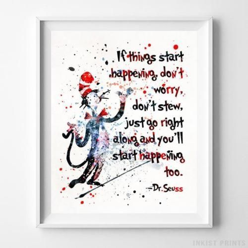 Dr Seuss Quote Type 9 Poster Print Baby Nursery Home Decor Wall Art Unframed Seuss Quotes Baby Prints Poster Prints