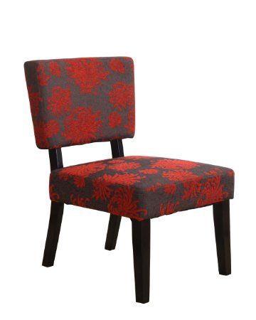 Linon Home Decor Taylor Accent Chair, Red/Gray/Black Flower
