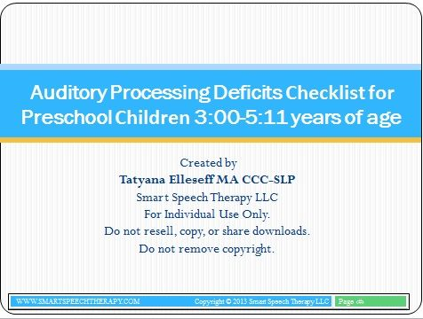 Language Processing Checklist For Preschool Children 3 0 5 11 Year Of Age Smart Speech Therapy And Auditory Howto Paraphrase The Cap Occupational