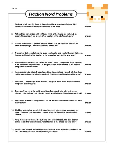 Fraction Word Problems | Fraction word problems, Math worksheets ...