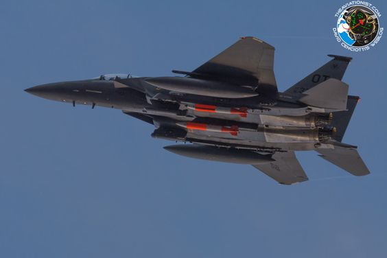 U.S. Air Force is conducting a series of test drops, in Nevada, of the latest LEP (Life-Extention Program) upgrade to the B61 line of nuclear weapons: the B61-12.  These tests involve F-15E Strike Eagles of the 422nd Test and Evaluation Squadron, as shown in the accompanying photos taken in the early morning hours of Oct. 20 by The Aviationist's contributor Eric Bowen.