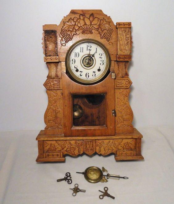 Antique Wall Shelf Mantel Clock WML Gilbert Clock Co. for Parts or Repair