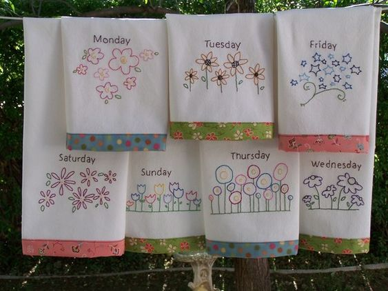 Flower tea towels hand embroidery pattern great in red