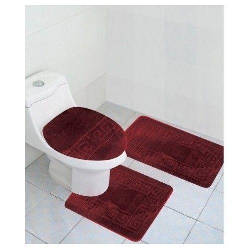 Burgundy Bathroom Rug Set Lid Cover Bath Mat Modern Toilet Contour Anti Slip