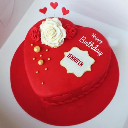 Write Name On Happy Birthday Heart Cake For Girlfriend Happy