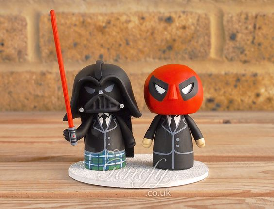 Deadpool and Darth Vader same sex couple wedding cake topper by Genefy Playground https://www.facebook.com/genefyplayground: