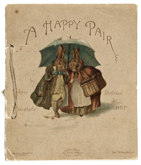 The first book illustrated by Beatrix Potter. Rejected by the first publishers she sent the six Christmas card designs to, the second publisher Hildesheimer & Faulkner accepted the designs and sent her a cheque in payment.  1890