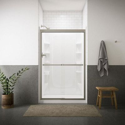 Sterling Meritor 42 625 In To 47 625 In W Frameless Nickel Sliding Shower Door At Lowe S Featu Shower Doors Frameless Sliding Shower Doors Sliding Shower Door