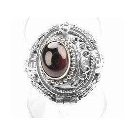 Genuine Garnet and Sterling Silver Medieval Style Poison Box Locket Ring Size 9(Sizes 5,6,7,8,9,10), (garnet, gothic jewelry, gothic ring, posion ring, silver garnet ring, silver insanity, silver ring)