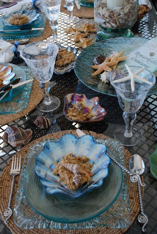 Seashell table settings #aqua #neutrals #whites