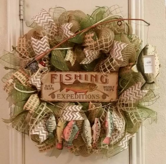 Fishing wreath gone fishin father 39 s day gift lake house for Fishing decor for man cave