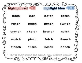 Printables List Of Words With Tch ending digraph ch and tch ppt printables printables