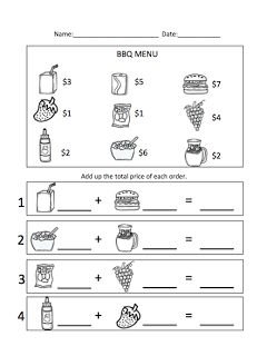 Worksheets Menu Math Worksheets movie theater and snack bar worksheets for the classroom menu math bbq unit theme www autismtank blogspot com