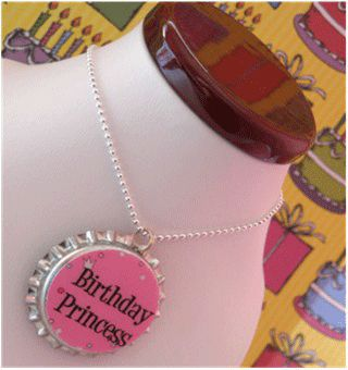 pink birthday princess bottle cap pendant