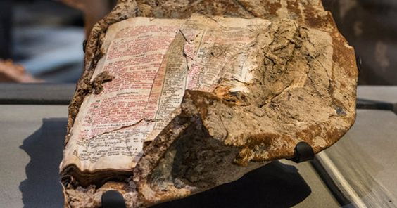 This Bible was found melted to a chunk of steel from the World Trade Center. The…