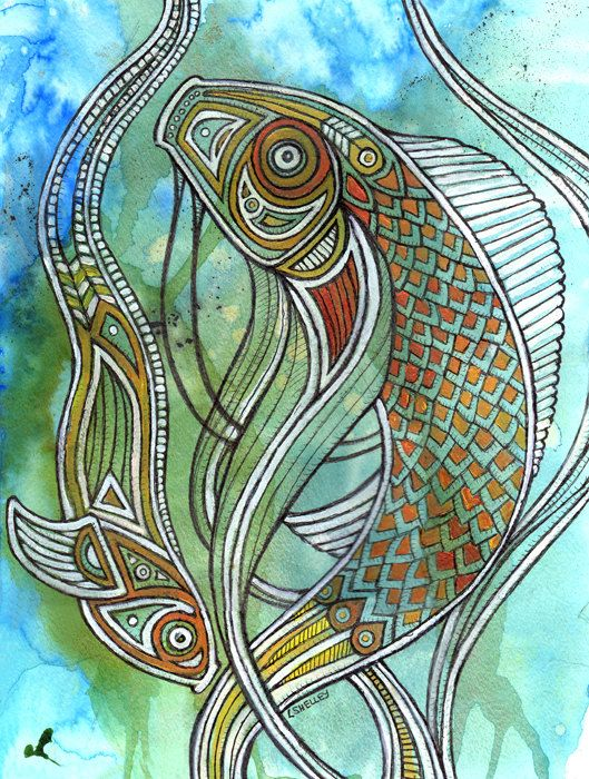 Original tribal fish pisces koi carp animal art by for Original koi fish