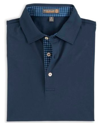 Peter Millar | Solid Stretch Mesh Polo With Contrast Trim in Midnight
