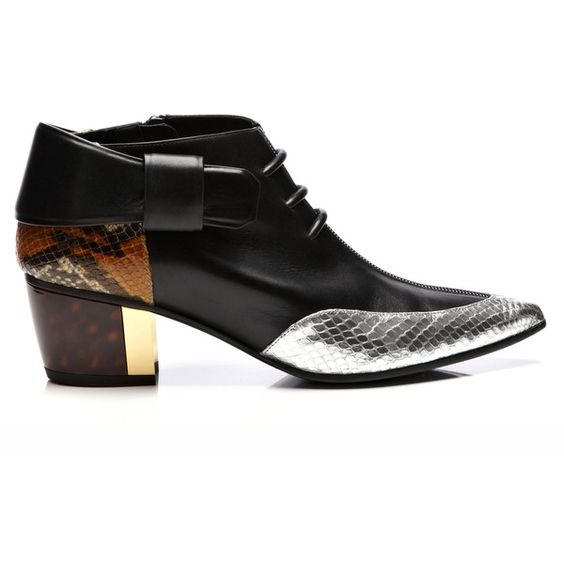Rodarte Black And Silver Leather Embossed Snakeskin Bootie ($955) ❤ liked on Polyvore