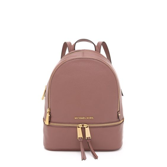 MICHAEL Michael Kors Rhea Backpack ($300) ❤ liked on Polyvore featuring bags, backpacks, dusty rose, brown bag, zipper bag, leather rucksack, leather zipper bag and real leather backpack