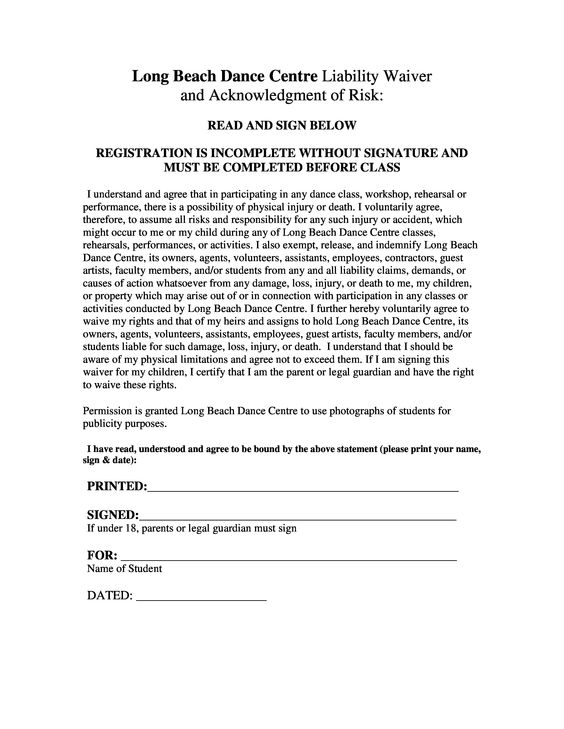 sample liability waiver