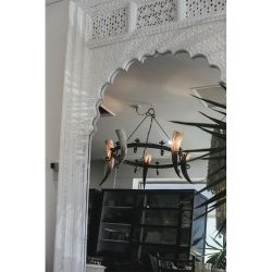 Large Carved Wooden Mirror in White