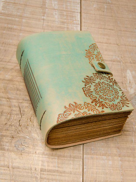 Cuero turquesa diario, Handbound diario, cuaderno de cuero, diario, diario de…