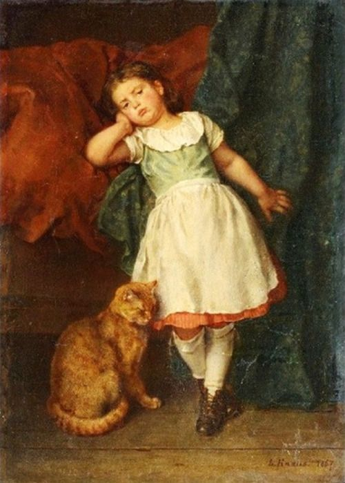 Ludwig Knaus (1829-1910)  — Little Girl with Cat, 1867 (500×699):