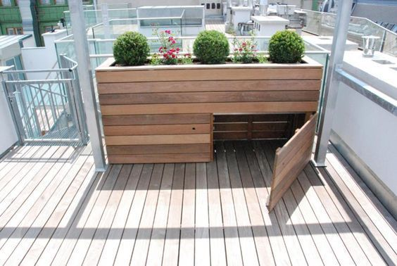 Hochbeet Mit Stauraum One Of The Best Materials For Building Your Own Terrace Garden Is Pressed Wood It In 2020 With Images Patio Plants Raised Garden Beds Modern Landscaping