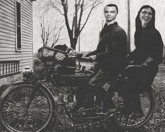 8 x 10 print of Sheldon and Amy in bicycle bliss 8.98 The Beacon Print Shop