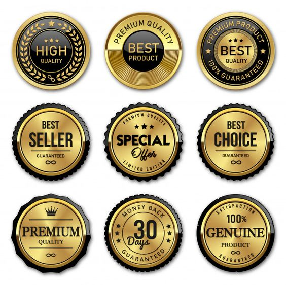 Seal Gold Badges And Labels Premium Quality Certificate Design Template Labels Gold Labels