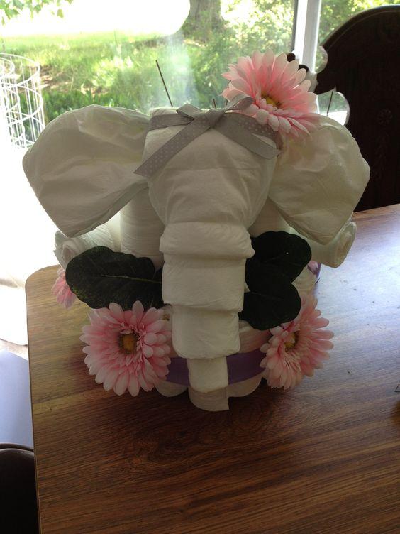Elephant Diaper Cake Baby Stuff Pinterest Flower