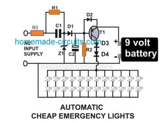 10 Simple Automatic Led Emergency Light Circuits Homemade Circuit Projects Emergency Lighting Circuit Projects Led Emergency Lights