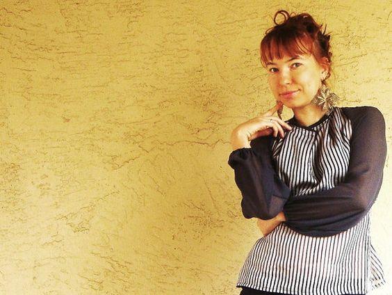 Gray stripe silky / chiffon blouse