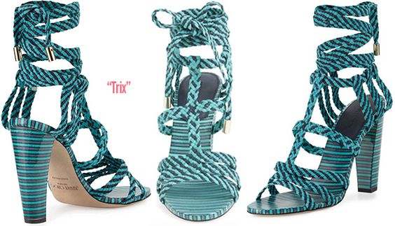 Jimmy Choo Trix Striped Ankle-Wrap Sandal - Buy Online - Designer Ankle Wrap, Sandals: