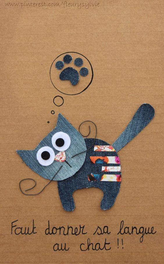 Faut donner sa langue au chat!  #jeans #recycle http://pinterest.com/fleurysylvie/mes-creas-la-collec/ et www.toutpetitrien.ch