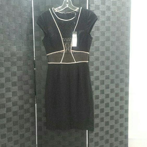 BCBG Max Azaria Dress Authentic  Never been worn Free of any stain Could b worn as Work style type of dress/ party Zipper on the back LIBI COLOR: BLACK COMBO ZBA6T190 BLACK LINING BCBGMaxAzria Dresses Midi