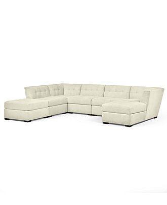 Modular sectional sofa corner unit and armless chair on for Roxanne fabric 6 piece modular sectional sofa