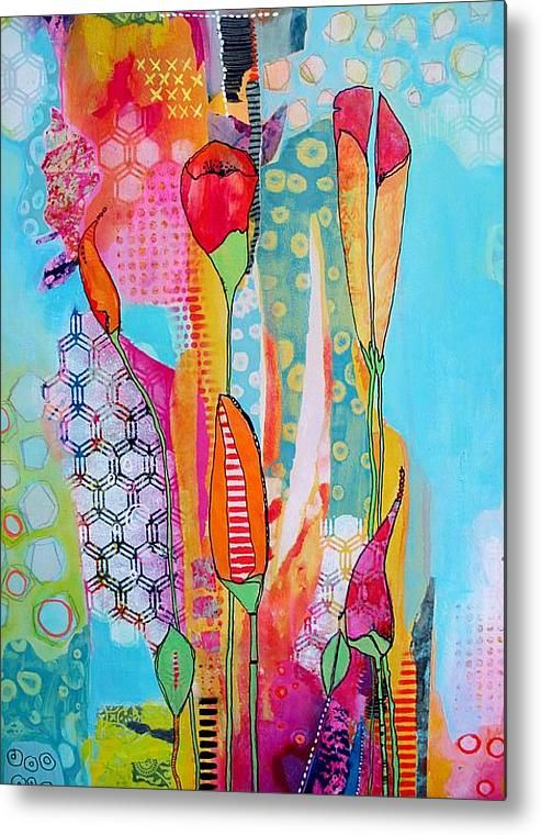 Full Bloom Metal Print By Chris Cozen. The colours that Chris uses in a lot of her paintings are so bright and happy. A departure from my usual subtle/antique colour ways but I would love to try this colour palette.