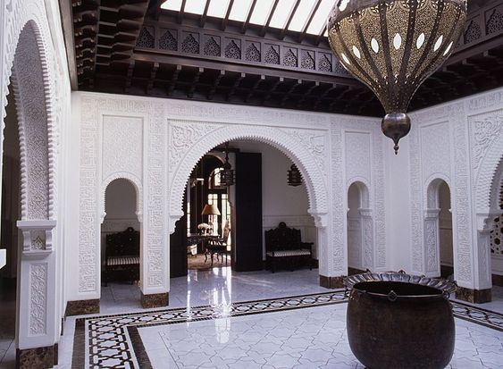 Entry hall in a palace in Marrakech, Morocco designed by Alberto Pinto: