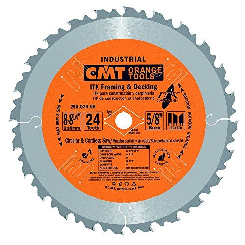 Cmt 250 024 08 Itk Industrial Framing Decking Saw Blade 8 8 1 4 Inch X 24 Teeth 1ftg 2atb Grind W Used Woodworking Tools Table Saw Essential Woodworking Tools