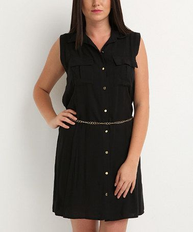Loving this Black Button-Front Sleeveless Dress - Plus on #zulily! #zulilyfinds