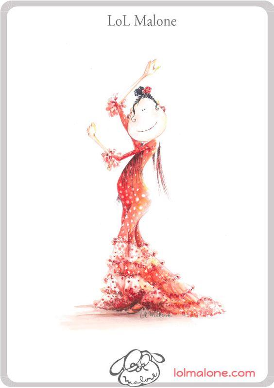 "Lamina Infantil Flamenca, de ""Edición limitada"". Lamina infantil para niña. Lamina infantil decorativa para habitacio de niña. Lamina infantil para regalar"
