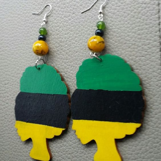Earrings RBG hand painted wood earrings with yellow, black, and green beads Jewelry Earrings