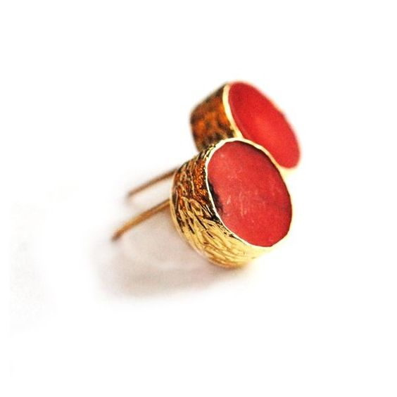 Coin Red Coral Studs
