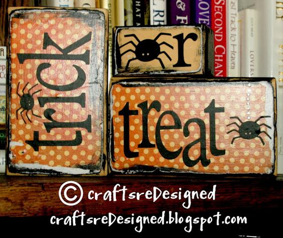 Trick-Or-Treat Blocks Using 2x4 Scraps and Scrapbook paper