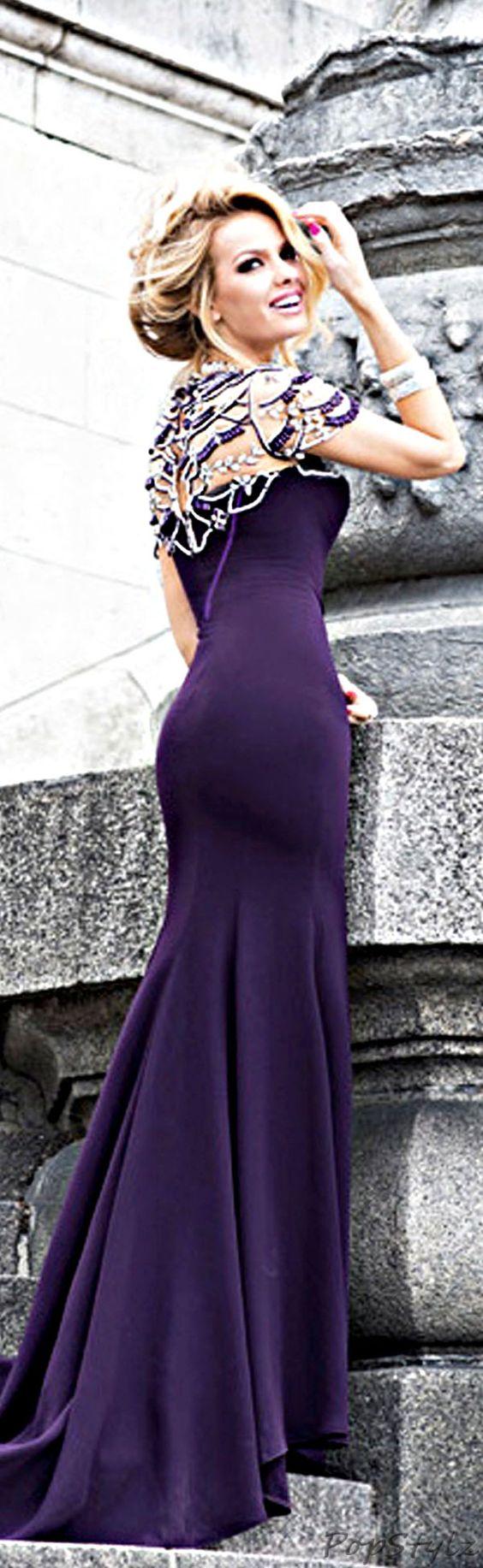 TARIK EDIZ Plum 2014 Gown