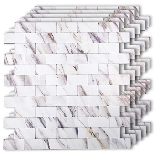 Homeymosaic Peel And Stick Tile Backsplash For Kitchen Wall Decor Metal Mosaic Smart Tiles Aluminum Surfa In 2020 Kitchen Wall Decor Peel And Stick Tile Stick On Tiles